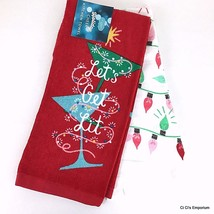 Holiday Christmas Kitchen Towels Let's Get Lit Set of 2 Martini Glasses ... - $10.88