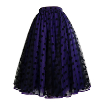 Romantic Puffy Floral Tulle Skirt High Waisted Knee Length Tulle Skirt Plus Size image 7