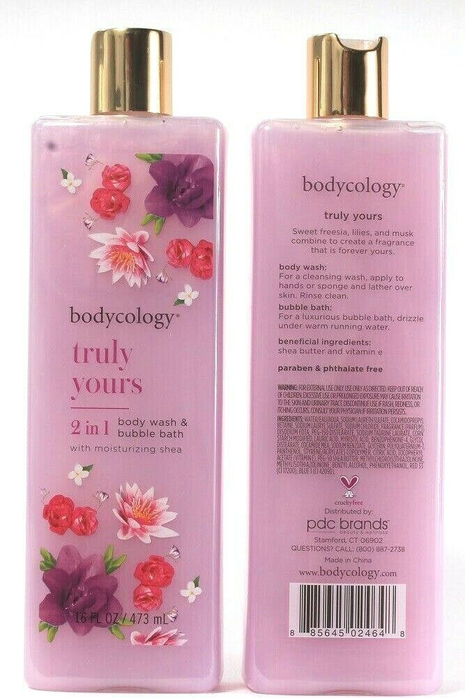 Primary image for 2 Bodycology Truly Yours Moisturizing Shea 2 In 1 Body Wash & Bubble Bath 16 Oz