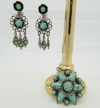 VTG Silver Toned Turquoise Glass Star Flower Pendant & Earrings Demi Par... - $19.80