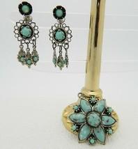 VTG Silver Toned Turquoise Glass Star Flower Pendant & Earrings Demi Parure Set - $19.80