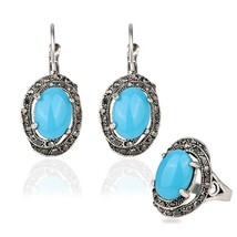 Gifts Hot Water Drop Jewelry Set Mosaic Carved Egg Shape Resin Blue Ston... - $9.34