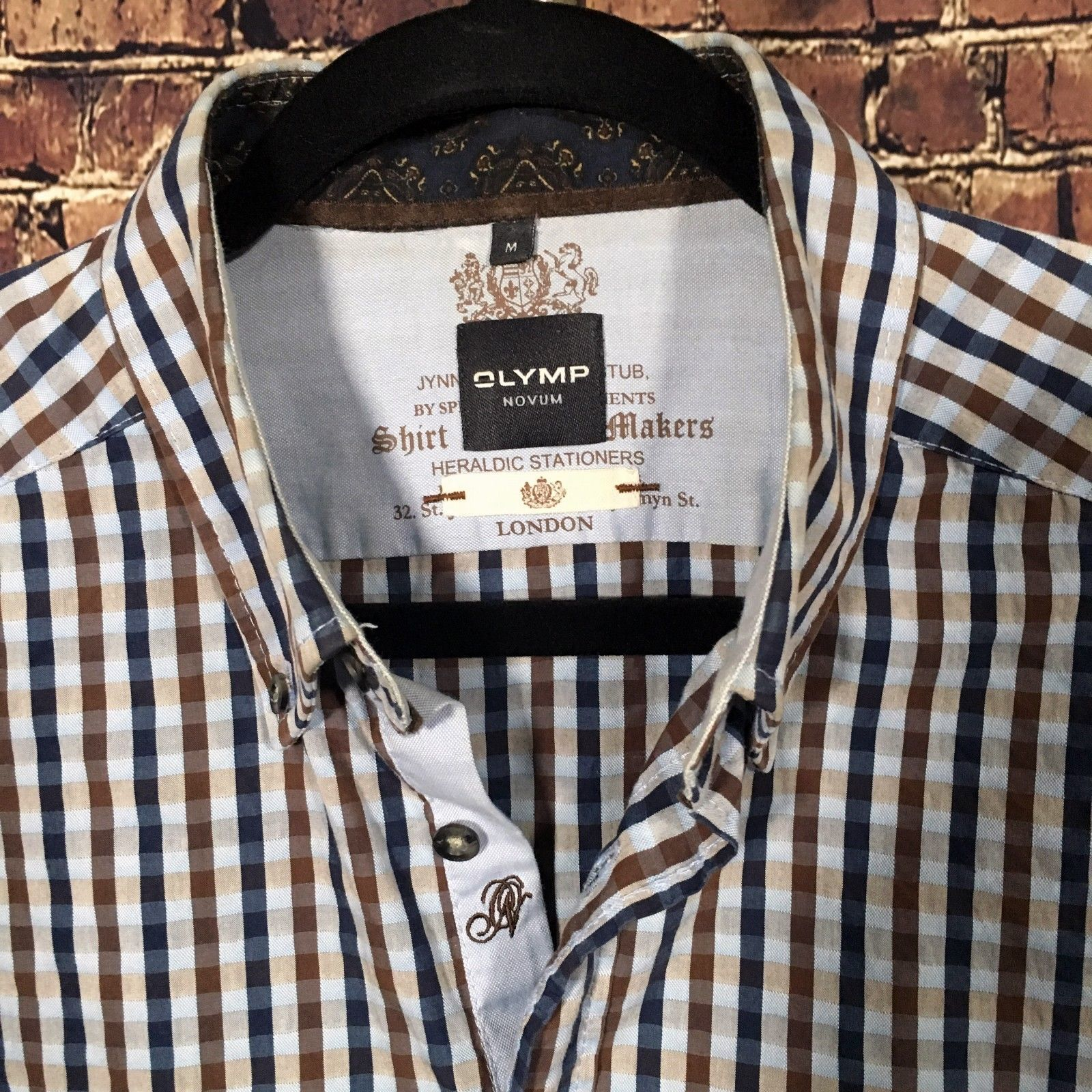 Olymp Novum Modern Fit Combo Sleeve Elbow Patch Button Down Checked Brown Navy M