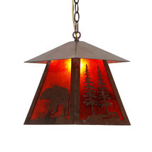Wild Bear Silhouette Mica Pendant Light Cottage Cabin Lodge Country Ligh... - $114.96