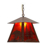 Wild Bear Silhouette Mica Pendant Light Cottage Cabin Lodge Country Ligh... - £86.93 GBP