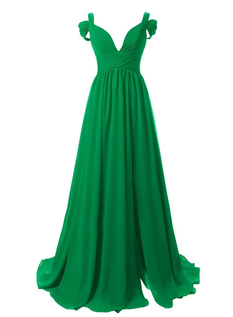 Women's Long Off Shoulder Sweetheart Formal Prom Gowns Chiffon Bridesmaid Dress