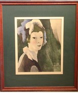 VINTAGE MARIE LAURENCIN LADY WITH HAT PRINT 1928 - $207.89