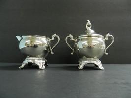 Unmarked Silver Plate Cream & Sugar Bowl w/ Lid - $39.60