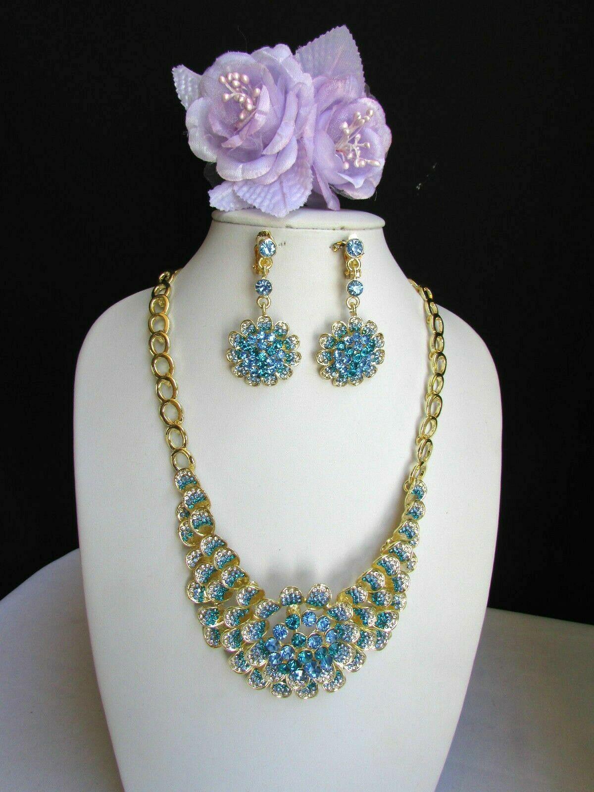 Nuevo Mujer Grande Dorado Flor Tendencia Jewelry Azul Diamantes Collar image 2