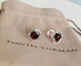 David Yurman Silver Stud Infinity Earrings with Garnet 7x7 NEW Authentic - $175.75