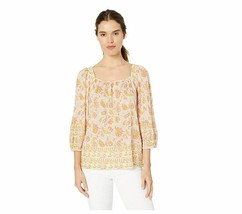 Lucky Brand Women's Square Neck Border Print Peasant TOP, Multi, L Orang... - $22.43