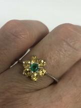 Vintage Citrine Emerald 925 Sterling Silver Size 8 Ring - $106.92