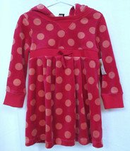 BABY GAP Girls Toddler 3 Pink Polka Dot Velour Dress w Hood & Drawstring... - $22.53