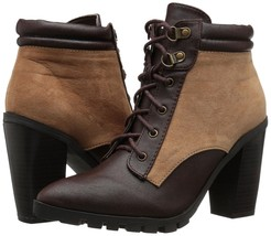 Qupid Women's Wicker-05 Distressed Brown Stacked Heel Ankle Boot 6 Med (... - $39.59