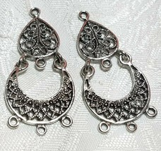 CHANDELIER FINE PEWTER EARRING PART - ONE TO THREE - 21x43x1mm image 1