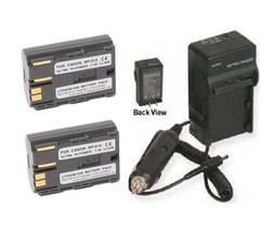 Two 2 Batteries + Charger for Canon EOS 300D Kiss Digital - $32.35