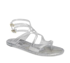 NIB Jimmy Choo Lance Silver Metallic Glitter Rubber Jelly Sandals 7 37 New - $239.03