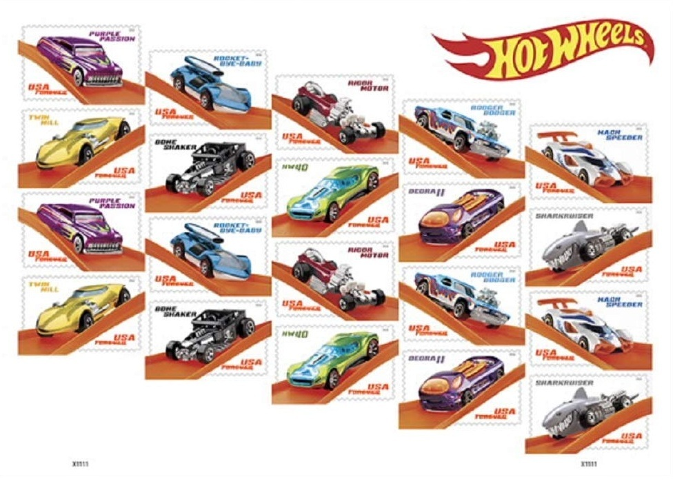 USPS Hot Wheels Sheet of 20 Forever Stamps. MNH.