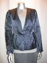 $338 EILEEN FISHER Graphite Steel Satin V Neck Jacket w/ Peplum Flare sz... - $62.89