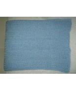 Blue Hand Knitted Crochet Baby Blanket - $24.36
