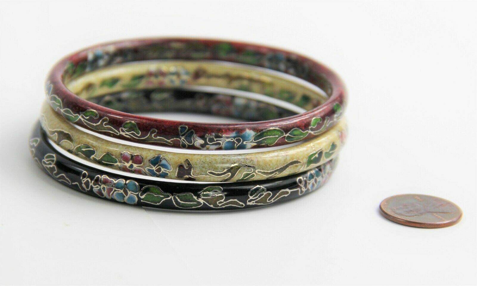 VINTAGE ESTATE Jewelry CHINESE CLOISONNE ENAMEL LOT OF 3 BANGLE BRACELETS STACK image 3