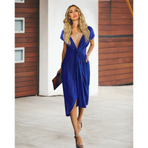Royal Blue  V-Neck Short Women Skirts With Short Sleeve Prom Party Gowns... - $24.33