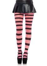LA9972 Striped Diamond Net Pantyhose Black/Pink [Apparel] - $198,88 MXN