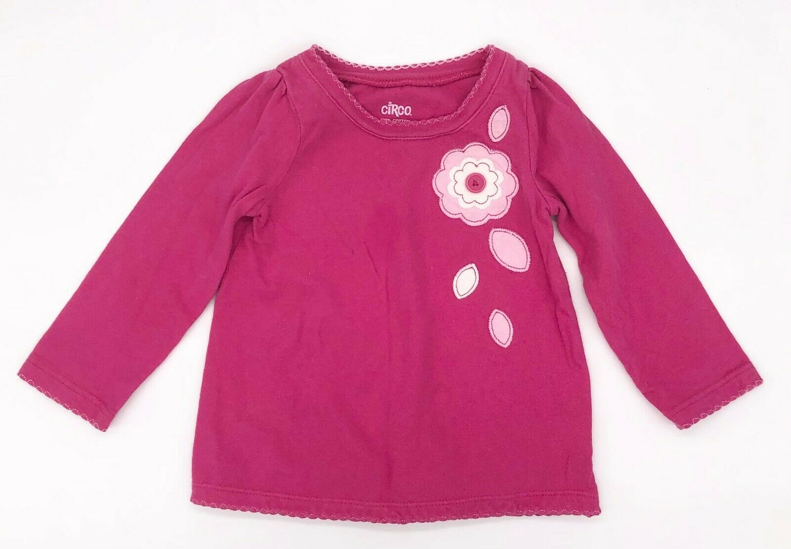 Circo Girls Size 12M Long Sleeve Top Pink w/ Flowers, 100% Cotton - $1.98