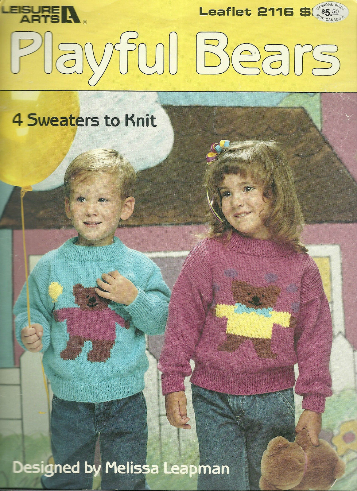 Playful Bears Leisure Arts Pattern Leaflet No. 2116 Childrens Knitted Sweater