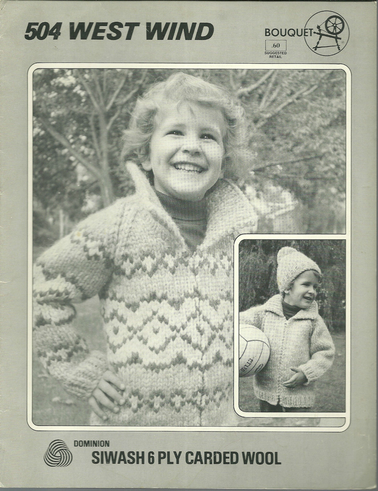West Wind Childrens Siwash Sweater Knitted Pattern Bouquet Leaflet 504 S M L