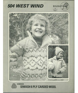 West Wind Childrens Siwash Sweater Knitted Pattern Bouquet Leaflet 504 S... - $9.98