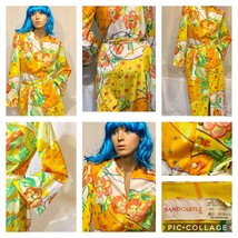 Vintage 1960's-70's Yellow Floral Belted Maxi Dress-Robe by SAND CASTLE - $55.17