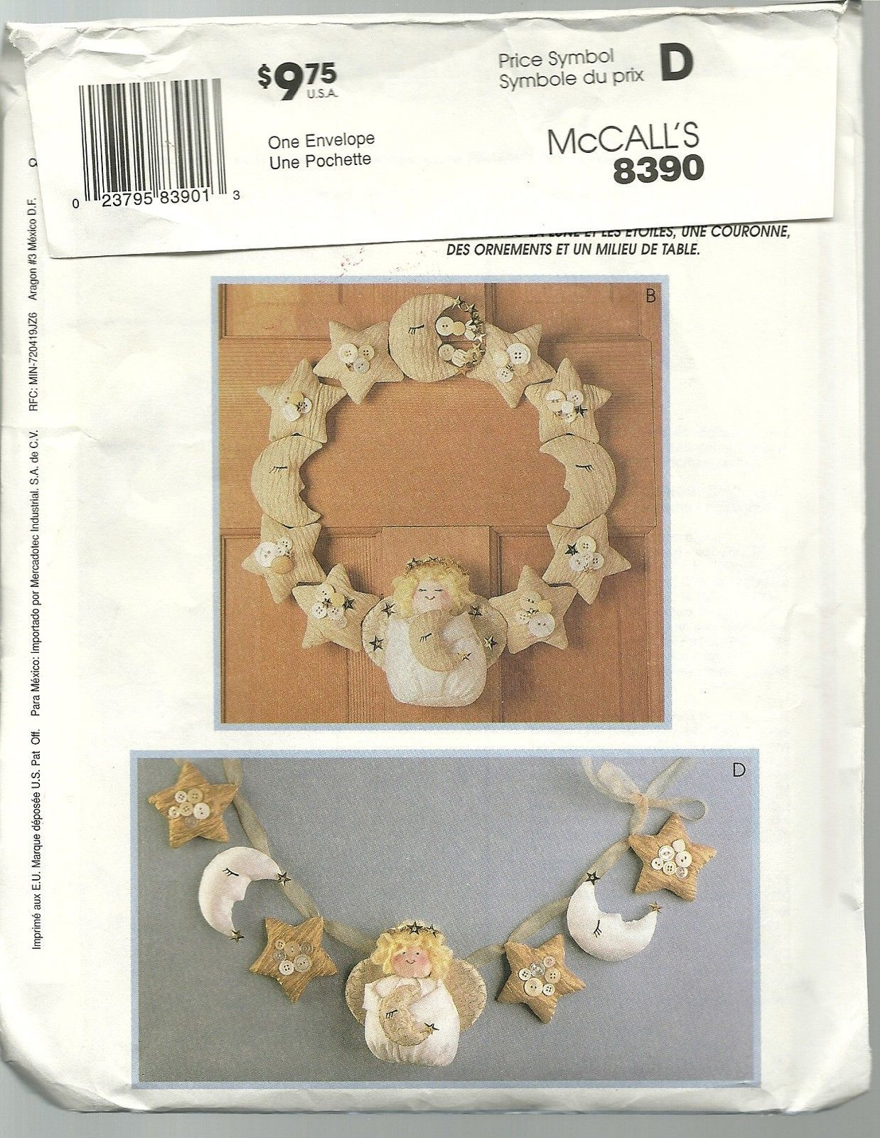 McCall's Sewing Pattern 8390 Crafts Angel Christmas ...