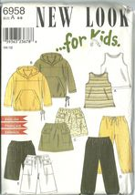 New Look Sewing Pattern 6958 Childrens Pullover Hoodie Top Pants Shorts ... - $9.98