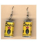 Funky Punk COORS BEER CANS EARRINGS Sports Bar Mardi Gras Party Costume ... - $6.99