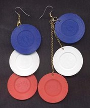 Lucky POKER CHIPS EARRINGS Casino Playing Cards Jewelry - $6.99