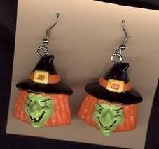 Funky Witch Heads Earrings Goth Punk Mardi Gras Jewelry - $6.99