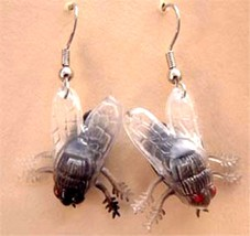 Funky FLY FLIES EARRING Insect Picnic Bug Gag Prank Horror Movie Costume... - $6.99