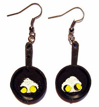 Funky Vintage FRYING PAN w-FRIED EGGS EARRINGS Country Cook Chef Costume... - $6.99