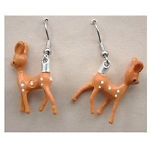Funky BABY REINDEER EARRINGS Miniature Bambi Deer Vintage Charm Costume ... - $8.99