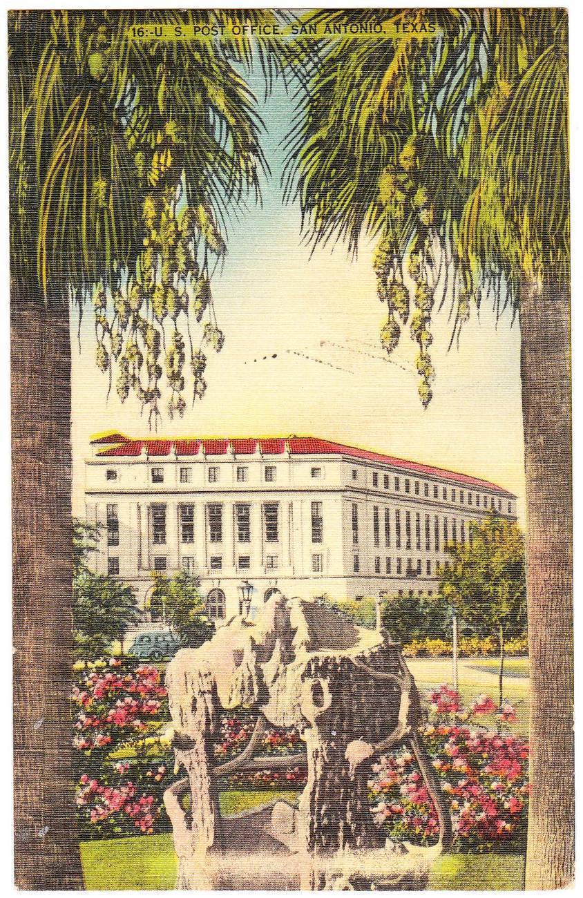 Linen postcard post office san antonio tx