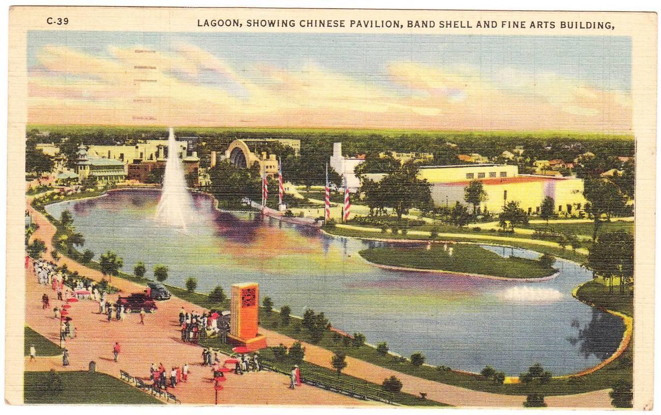 Vintage linen postcard lagoon texas centennial exposition tx