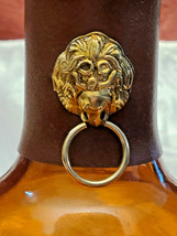 Vintage Amber Glass Bottle With Faux Leather Banded Neck Made in Taiwan image 2