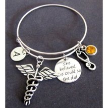 Medical Caduceus Bracelet, Stethoscope Bangle Bracelet, She believed She... - $16.90