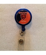 Nfl Chicago Bears Badge Reel Id Holder blue orange alligator clip handma... - $6.95