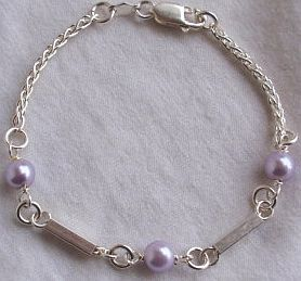 Purple rounds silver bracelet 2