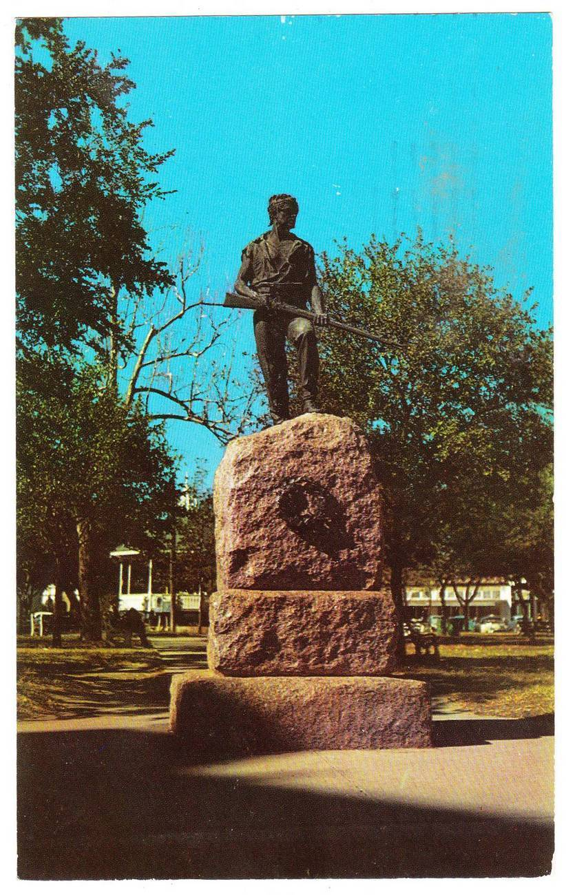 Vintage postcard last stand statue de leon park victoria texas tx