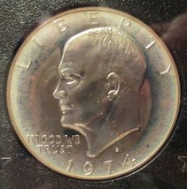 1974 S Eisenhower (IKE) Brown Box Coin 40% SILVER Dollar Coin IKE White Halo - $36.00