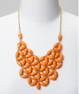 Little Miss Orange Daisy Bib Necklace - $15.00