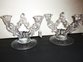 2 Vintage Cambridge Glass Double Candlestick Ar... - $39.59
